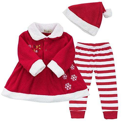 41bc57d0dc0a2 iEFiEL Costume Noël Vêtement Bébé Filles Robe + Pantalon + Chapeau  Ensembles 9-24 Mois