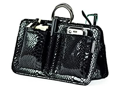 Fizpouch Handbag Organiser - Onyx Patent Python