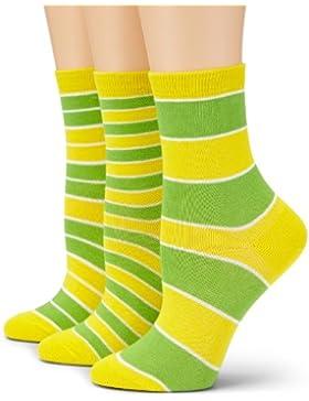 Loonysocks, 3 paia di calze in cotone assortite da donna/ragazza a righe gialle e verdi (31-34 EU)