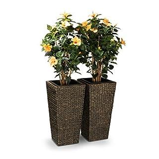 2er Set Pflanzkübel Blumenkübel LAVIA 70 Wasserhyazinthe, 35x35x70 cm, braun - Pflanztopf, Pflanzgefäß für Innenbereiche