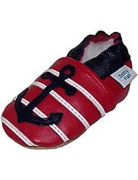 Chaussures de bébé en cuir souple au d'ancre rouge et blue, Dotty Fish garçons