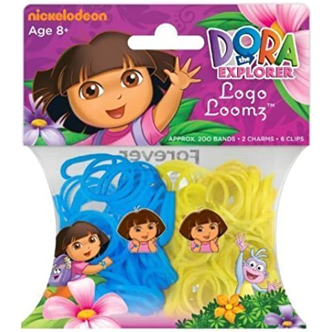 Hit Entertainment Licensed Logo Loomz Filler Loom Bands & 2 Charm Pack - Disney, DC Comics & More! (Nickelodeon - Dora the Explorer) by Forever Collectibles