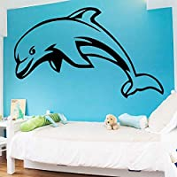 Romantic Dolphin Wall Art Decal Wall Sticker Mural for Kids Rooms Waterproof Wall Art Decal 58x65cm