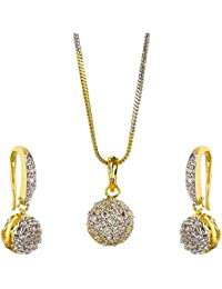 Aabhu Gold Plated Trendy Ball Design American Diamond Pendant Set Necklace Set With Earrings For Women And Girls