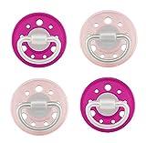 NIP Cherry Rundsauger Schnuller 4 Stück Set (2x2) 0-6 Monate, pink/rosa - für Mädchen