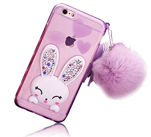 iPhone SE/iPhone 5 5S Case - Sunroyal® Ultra Fin 3D Lapin TPU Coque Etui Transparent Gel Silicone Doux Bunny Back Cover de Protection avec Fonction Stand [oreille de Rabbit] pour Apple iPhone SE / iPhone 5 / iPhone 5S – Violet