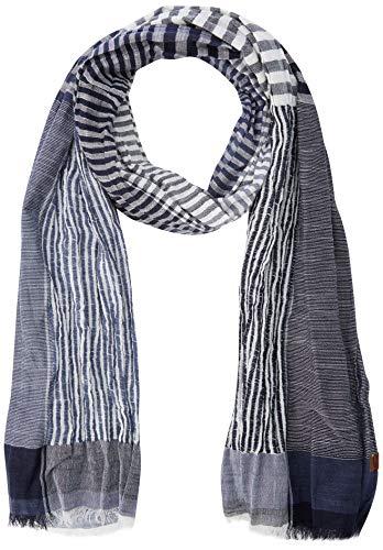 camel active Herren 407170 Schal, per pack Blau (BLUE/WHITE STRIPED 40), One Size (Herstellergröße: OS)