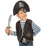 Carnival Toys - Juego pirata para niño: sombrero, parche, chaleco, pendiente, espada y cinturón en bolsa con encabezado, colo