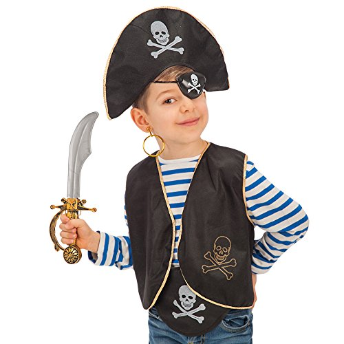 Carnival Toys Set Pirata Bimbo Cappello Benda Gilet Costume Party E Carnevale 509 Multicolore Taglia Unica 3352