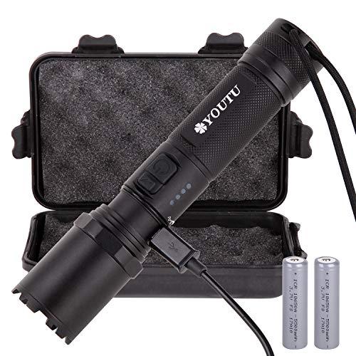 LED Taschenlampe, USB Aufladbar, IP68 WASSERDICHT, 3 Licht-Modi mit, 2000 Lumen, CREE XM-L2 Chip, Inkl.2 x 18650 Batterie, Micro-USB-Kabel