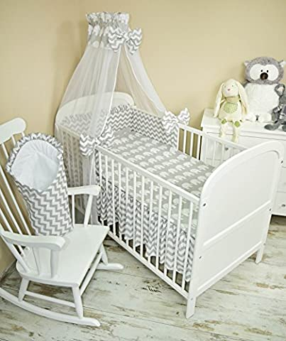 Baby Bedding Set 5Pieces Bedding Set with Cot Bumper, Canopy Children's Bed Linen 100x 135cm BRAND NEW Chiffon Sky Elephant Grey