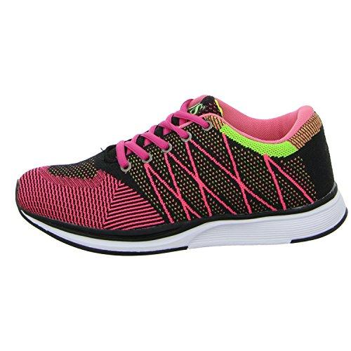 SDS 066-A Mädchen Schnürhalbschuh sportlicher Boden Rot (Pink)