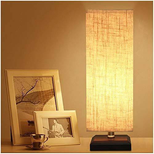 ZEEFO Tischlampe, Nachttischlampe aus Massivholz mit Stoffschirm Mini Tischlampe für Wohnzimmer, Schlafzimmer, Kinderzimmer, Bücherregal