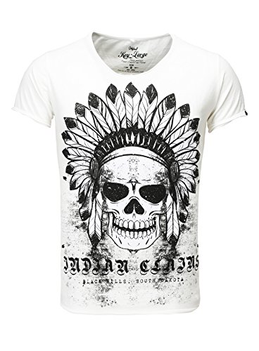 Key Largo Herren T-Shirt Indian Skull Print Vintage Look Totenkopf Indianer Apache USA Off White S - Indian Skull T-shirt