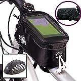 BTR Fahrrad-Rahmentasche Lenkertasche und Handy-Tasche Fahrradtasche und wasserdichten Regenschutz und Wasserdichter und sehr gut sichtbarer Regenüberzug (schawarz). (Radsport Geschenk)
