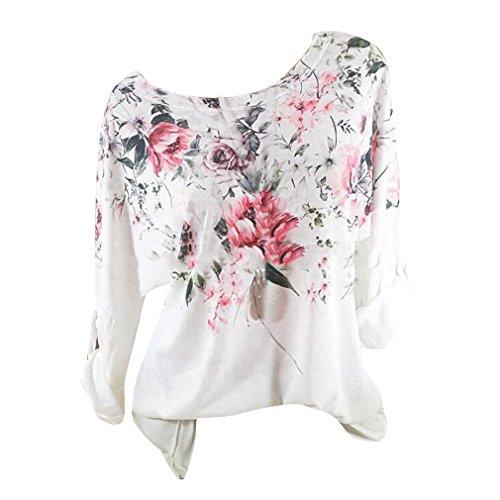 Hibote Damen O-Ausschnitt Langarm Blumendruck Tops Casual Blusen und Tops Weiß M