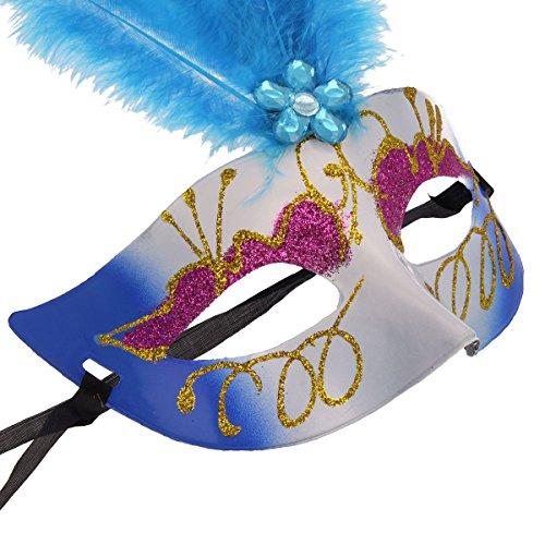 Fasching Maske Braziliano mit Federn und Glamour Glitzer, Gesichtsmaske mit Federn (Grün- Grün Glitzer) (Maske Lila Feder)
