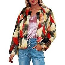 DEELIN Invierno De La Mujer De Moda Personalidad CáLida Piel SintéTica De Felpa Degradado Abrigo Chaqueta