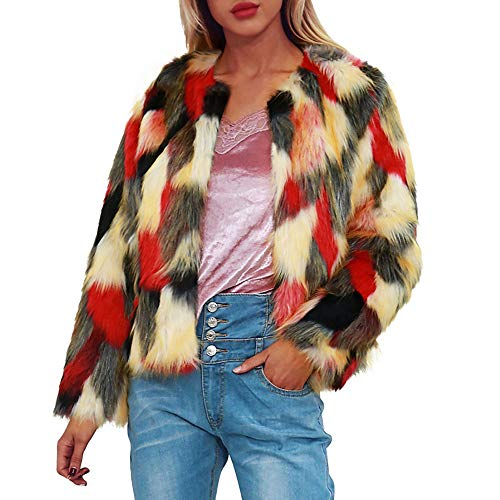TEBAISE 2018 Damen Mantel Herbst Winter Elegant Warm Multicolor Faux Fur Kunstfell Jacke Kurz Mantel Flaumig Coat (X1-Gelb,EU-42/CN-2XL)