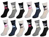 6 oder 12 Paar Damensocken ohne Gummi Baumwolle Karo Kariert Damen Socken - E-800 (39-42, 12 Paar | Farbmix)