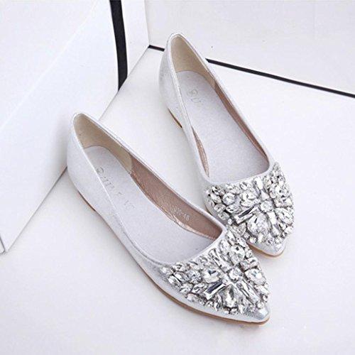 Byste Mujer Primavera Ocio Pointed Toe Ballet Flats Rhinestone Zapatos Solos Zapatos Planos Plata