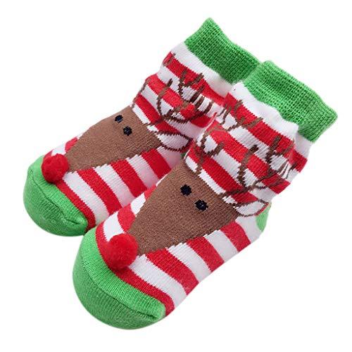 ihnachtssocken für 0-24 Monate Neugeborenes Mädchen Mid Tube Warm Winter Verdicken Baumwolle Socken Boden Antirutsch Socken mit Silikon Sohle (12-24 Monate, A) ()