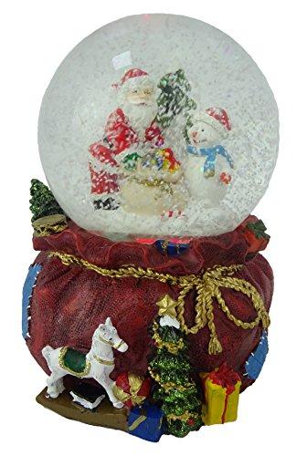 Christmas Concepts® 15cm Musical Weihnachtsharz Dekoration mit Santa & Schneemann Water Globe + Farbe ändern LED Lichter -