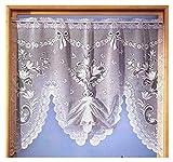 Gardinen, Vorhang, Jacquard Fensterbild fertig hochgerafft mit Stangendurchzug, Farbe Weiß, Höhe 98cm x Breite 120cm,b für Fensterbreite 90-120cm