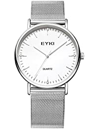 Alienwork Quarz Armbanduhr elegant Quarzuhr Uhr modisch weiss silber Metall YH.EET2006L-02