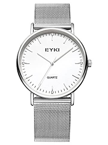 Alienwork Quarz Armbanduhr elegant Quarzuhr Uhr modisch Metall weiss silber YH.EET2006L-02
