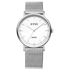 Alienwork Uhr für Damen Herren Armbanduhr mit Mesh Metall-Armband