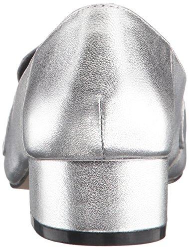 Steve Madden Womens Timbir Slip-On Loafer Silver Leather