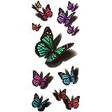 Merssavo Color 5 Impermeable Temporal Tatuajes 3D Pluma / Mariposa Flor Halloween Falsos Tatuajes Pegatina