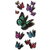 Merssavo Color 5 wasserdicht temporäre Tätowierungen 3D Feder/Schmetterling Blume Halloween Fake Tattoo Sticker
