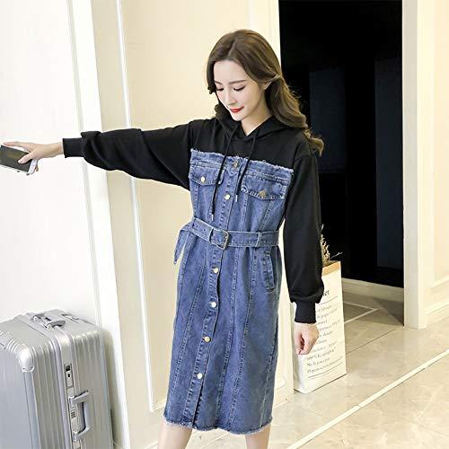 nikleid Jeans Tunika Shirt Bluse Kleid Mit Taschen Schickes Freizeitkleid Jeanskleider Damen Jeanskleid Damen Lässig Lose Hemdblusenkleid Tunikablack-XL ()