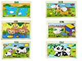 #7: Emob Pack of 6 Wooden 20 Piece Jigsaw Animal Theme Puzzle Educational Game for Kids