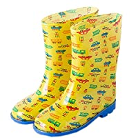 Toddler Rain Shoes Baby Rain Boot Rainy Day Wear Rubber Shoes YELLOW Cars