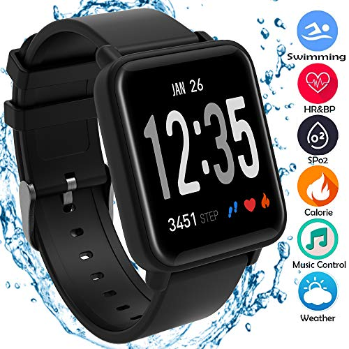 Fitness Trackers, Heart Rate Blood Pressure Oxygen Monitor IP67 Waterproof Big Color Screen Activity Trackers with 8 Sports Modes Steps Calories Counter Smart Watch for Kids Men Women for Android IOS …