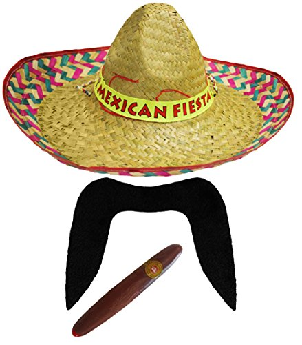 ILOVEFANCYDRESS Unisex Kostümzubehör, Mexianischer Sombrero mit rotem Muster, Schnurrbart, Jumbo-Zigarre, Faschingszubehör (Up Western-dress Ideen)