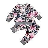 Yanhoo-Kinder Bekleidungsset,Baby Mädchen 2 Stück Langarm Floral Print T-Shirt Tops Oberteil Bluse Pullover Sweatshirt + Baumwolle Lange Hosen Herbst Winter Kleidung Set