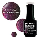 MEANAIL PARIS – semipermanenter Gel-Nagellack UV/LED – Kollektion SHINY STAR – Glitter-Nagellack - soak off nail polish - vegan and cruelty free - 10ml - Farbe : MY VALENTINE - RN7004