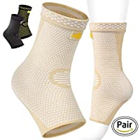 Ankle Support- Ankle Brace - Compression Ankle Sleeve - High Quality Foot Support for Plantar Fasciitis - Achilles Tendonitis - Arch Heel Spurs - Pair Socks for Womens - Men - Kids - Best for Running