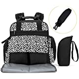 SKM Baby Backpack Diaper Bag For Women, Changing Nappy Bag With Insulated Pocket, Stroller Straps And Changing Pad Black