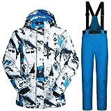 Morningtime, tuta da sci da uomo, 2 pezzi, antivento, impermeabile, giacca da sci + pantaloni da sci da uomo, caldi, per esterni, da ragazza, impermeabile, antivento per sciare, Bianco/Blu/Blu, Medium