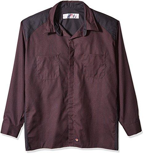 Red Kap Men's Striped Color Block Long Sleeve Shirt Big/Tall, Charcoal Contrast, 2X-Large - Big And Tall Long Sleeve Work Shirt