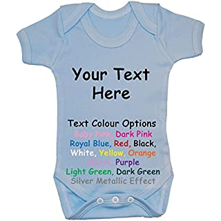 Acce Products Bespoke Personalised Design Your Own Wording Baby Bodysuit/Romper/Vest/T-Shirt - 12-18 Months - Blue