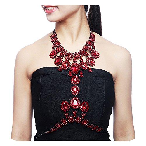 Holylove Damen Statement Körper Kette Halskette mit Ohrringe Rot, Costume Schmuck für Damen Neuheit Mode Körper Schmuck Halskette 1 Pc mit Geschenkbox- HLBNSD Red (Armband Lange Kette)