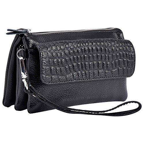 Wocharm Soft Leather Women's Large Capacity Leather handbags Wristlet Wallet Clutch With Shoulder Strap Wrist Strap Fit IPhone 6/7 Plus (Black)