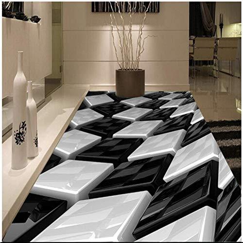 Meaosy Stereo Schwarz Und Weiß Dreidimensionale Box Kreative Boden Pvc Dicke Verschleißfeste, Ultra-Grüne Bodenfliesen-450X300Cm -