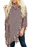 MAGIMODAC Damen Poncho Cape Tunika Strick Pullover Sweater Umhang mit Fransen (Weinrot, Einheitsgröße)